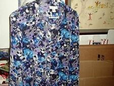 Coldwater Creek Multicolored LS Button front Blues/Purple Shirt,M 10-12,bust 42