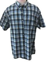 Van Heusen mens shirt size 18  18.5 blue black plaid short sleeve 1 pocket