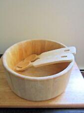 "Crate and Barrel Natural Wood Round 12"" Salad Bowl Kitchen Wooden~Salad Servers"