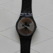 Mens Swatch Watch GB 126 Lucretia Made in 1989 Black & Silver Fleur de lis Dial