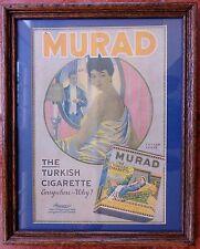 Vintage, Elegant Murad Turkish Cigarette Ad Matted and Framed