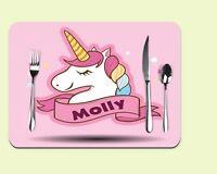 custom unicorn place mat, kids personalised table mat, name place mat