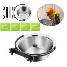 Parrot Food Water Bowl Cups Stainless Steel Bird Pigeons Pet Cage Feeding Us New