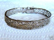 1/2 Ct Diamond Bracelet Floral Design Sterling Silver .925