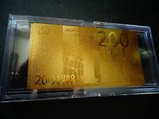 24 KARAT GOLD 200 EURO €.European Union MONEY 2002 * BILL COMES IN ACYLIC HOLDER