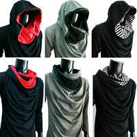 New Men lady BLACK COWL Neck HOOD long sleeve shirt T-SHIRT gym sz S M L XL XXL