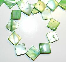 MP284f Green 15mm Flat Square Diamond Mother of Pearl Gemstone Shell Beads 16""