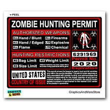 United States US Zombie Hunting License Permit Red - Response Team Sticker