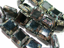 10 Jet Black Travertine Chunky Czech Square Window Beads 13mm