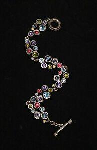 "Patricia Locke 7 1/2"" Swing Bracelet Silver Plate Joy Swarovski Crystals NWOT"