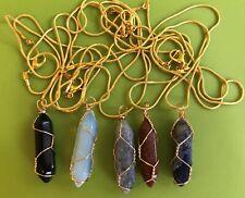1 x rock Quartz Pendulum Pendant Necklace -chain Reiki Healing CHAKRA overlay