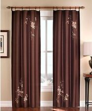 Chocolate Asia Faux Silk Rod Pocket Curtain - 44 in.W x 84 in. L