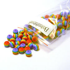 100 Rainbow Stripe 8mm Round Plastic Acrylic Resin Beads W/ Opaque Striped Lines