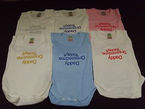 Funny Embroidered Personalised Vest Baby Shower Gift Daddy dressed me today!!