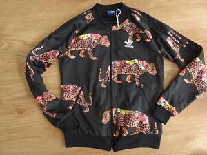 ADIDAS ladies black leopard floral zip thru tracksuit jacket jumper UK 8