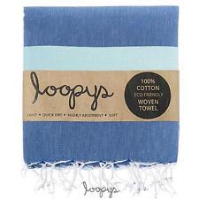 Premium Denim Blue & Mint Loopys Cotton Turkish Towel Beach Pool Bath Peshtemal