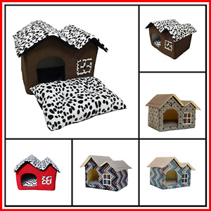 Pet Cat Dog House Kennel Puppy Cage Warm Cushion Soft Bed Sleeping Cave Nest Den