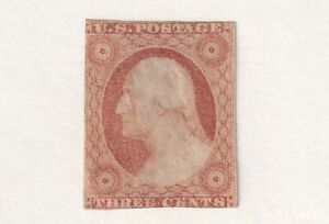 1852 U.S. Scott # 11A Three Cent Washington Stamp Mint No Gum