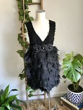 Erin Louise Black Ruffle Rosettes Cocktail Party Dress. Size 10 S M