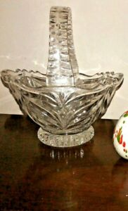 Vintage CANDY DISH Lead Crystal BASKET Glass Bridal Decor Wedding Flower Girl