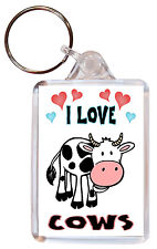 I Love Cows / Cow - Double Sided Large Keyring Key Ring Fob Chain Gift