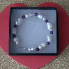"""Beautiful Bracelet With Freshwater Biva Pearls And Amethyst 8"""" Inch In Gift Box"""