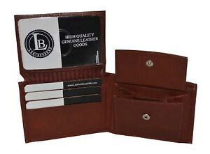 KIDS BOYS SLIM  COMPACT COIN POCKET BIFOLD WALLET BROWN BY LEATHERBOSS
