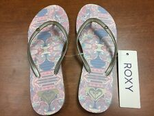 ROXY Women's Bermuda Gold/Estate Blue Flip Flop Size 6/7 New With Tag