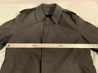 US MILITARY MENS ALL WEATHER BLACK 38 REG POLYESTER BLEND TRENCH COAT W/ LINER