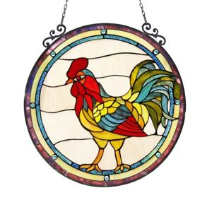 """24"""" X 24"""" Stained Glass Rooster Round Window Panel Tiffany Style"""