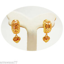 Heart Dangle 22K 23K 24K THAI BAHT YELLOW GOLD GP EARRINGS JEWELRY