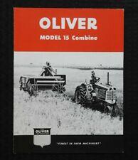 """Véritable 1951-1960 """" The oliver Modèle 15 Combiner """" Sales Brochure Belle Forme"""