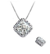 "Elegant Royal ""Crown"" Silver Princess-Cut AAA Cubic Zirconia Pendant Necklace"