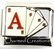 9mm Italian Charm Modular Link Ace Poker Card Games Las Vegas Gambling Casino
