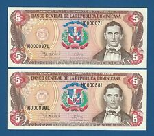DOMINICAN REPUBLIC -- PAREJA 5 PESOS ORO ( 1997 ) -- LOW # -- UNC -- PICK 152b .