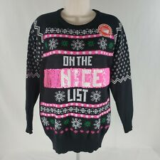 Naughty or Nice List Sweater Sz Small Black Reversible Ugly Holiday Juniors