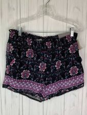 New Maurices Navy Floral Shorts Polyester Elastic Waist Pom Pom Trim Lined Sz M