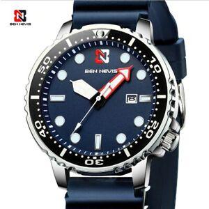 Fashion Sport Quartz Diver Style Luminous Silicone Auto Date Men Watch Accessory
