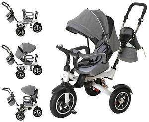 Kinderdreirad Kinderwagen A77 Babydreirad ab 1 Jahr Buggy Dreirad Grau mit Dach