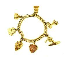 Camera Grapes Bridge Church Pagoda California Charm Bracelet Gold Tone Surfer