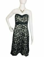 White House Black Market Black Strapless Cocktail Dress Lace Overlay Small 4