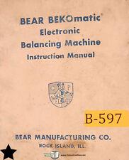 Bear Bekomatic Balancing Machine Operation Schematics Maintenance Amp Parts Manual