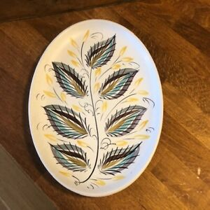 Vintage Denby Stoneware – Oval Hand-Painted Mid-Century Plate – Great! –