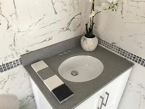 Quartz Vanity top all sizes and colors grey white galaxy black and carrara