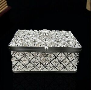 Square Shaped Silver Plated Crystal Trinket Jewellery Box With Floral Design