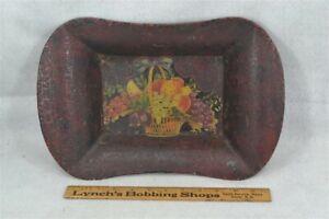 antique tole tin painted bowl toleware 10x15 basket original 19thc