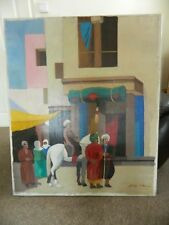 Large Vintage painting of men and horse - signed