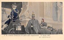 9636) CATANIA IL 14/4/1907 VITTORIO EMANUELE PARTE DALL'ESPOSIZIONE.
