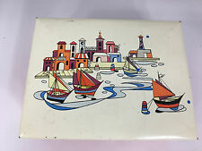 VINTAGE OLD WEST GERMAN METAL TIN BOX HINGE LID HARBOR SAILBOATS WESTERN GERMANY