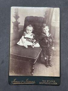 Victorian Cabinet Card: Children Boys Top Curls: Jones & James Southend On Sea